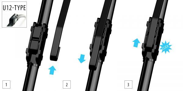 Щітка склоочисника безкаркасна 700 mm (защіпка 12 mm) OXIMO WU12700 3